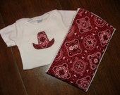 Gift Set - Cowboy Onesie and Matching Burp Cloth