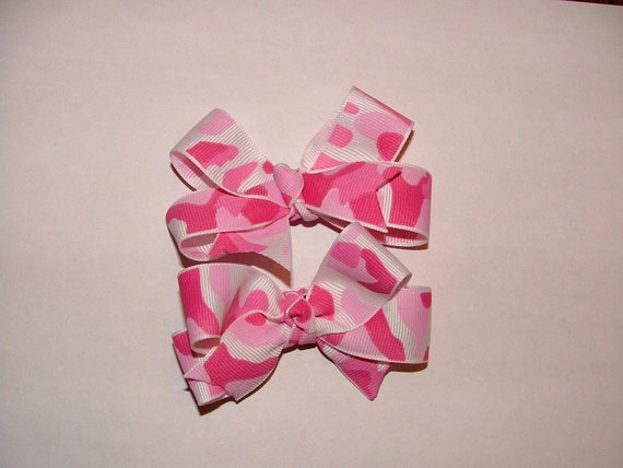Two Pink Camo Bows - PERFECT for Piggy Tails