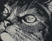 Framed Cat Linocut Print