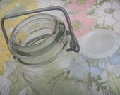 Vintage Canning Jar with Metal Bent Lid with Plastic Sealer Intact
