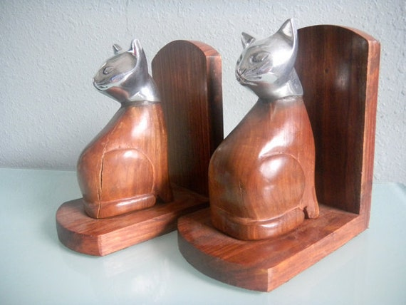 Vintage Pair of Cat Kitty Feline Book Ends Bookends