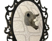 Miniature Rhino Head Mount in Victorian Frame - Faux Taxidermy - Wall Art Decor 7x10in
