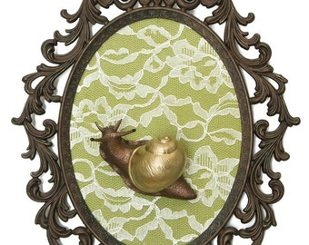 Snail with Golden Shell on Lace - Victorian Framed Object - Wall Art Decor 10x13in