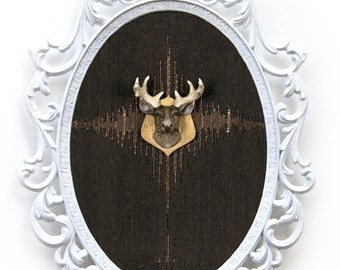 Miniature Deer Head Mount - Faux Taxidermy - in Victorian Frame - 3D Wall Art Decor 7x10in