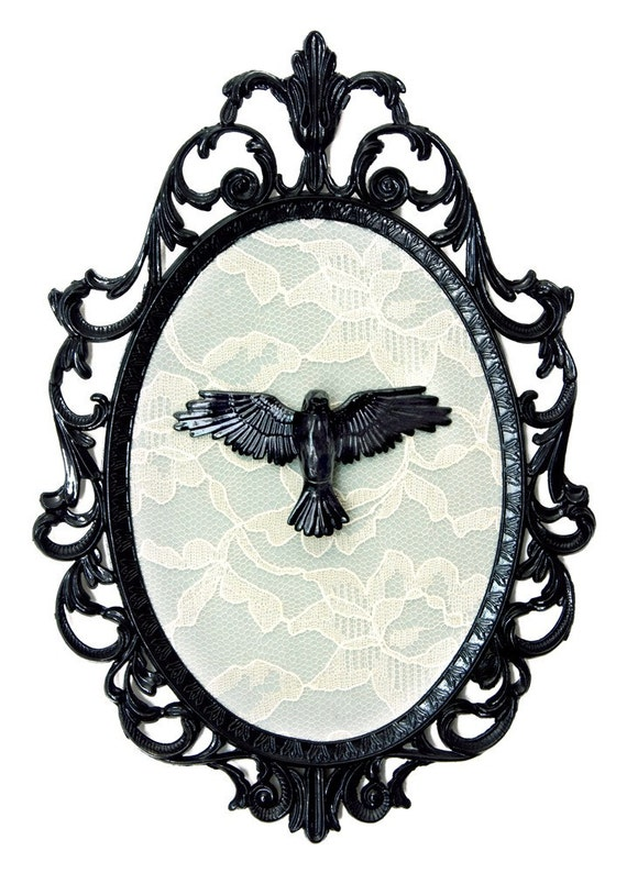 Miniature Crow on Lace - Victorian Framed Object - Wall Art Decor 7x10in