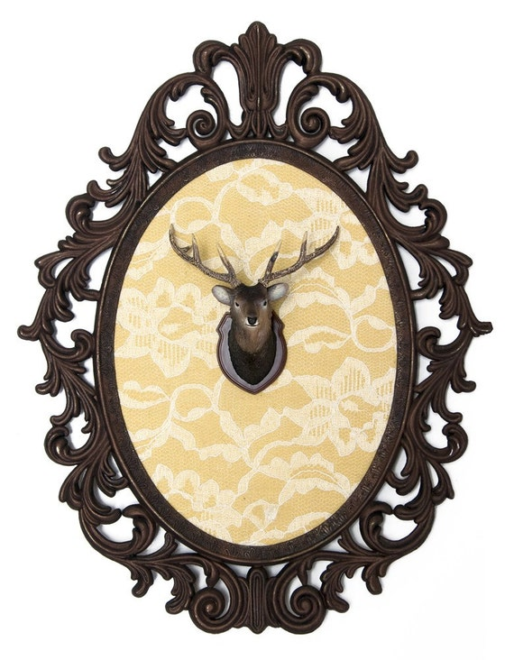 Miniature Deer Head Mount - Faux Taxidermy - Victorian Framed Obect - Wall Art Decor 10.5x13.5in