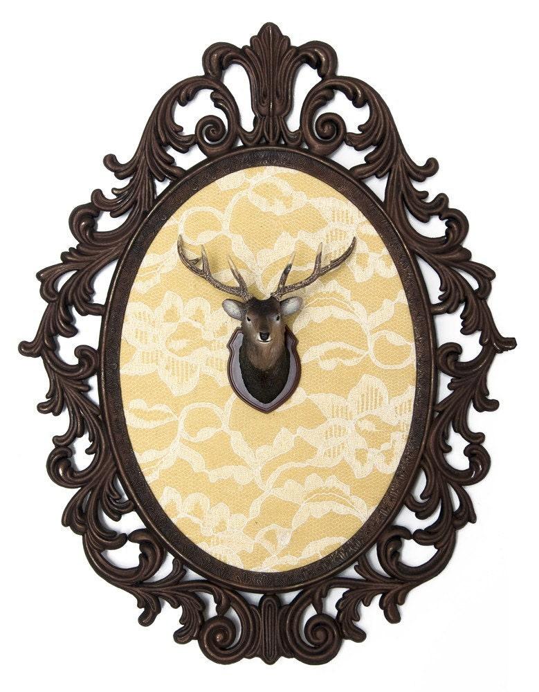 Miniature Deer Head Mount Faux Taxidermy Victorian Framed