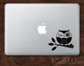 Owl on Branch - Vinyl Macbook Laptop Decals - FREE Shipping