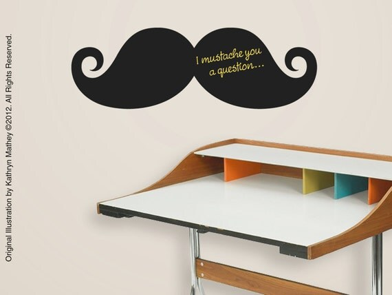 Mustache Chalkboard Decal - Peel and Stick - FREE SHIP