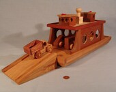 RESERVED for mamaday - - FERRY with FOUR VEHICLES and ONE RAMP - Handcrafted from Fine Hardwoods / Cherry , Oak and Maple