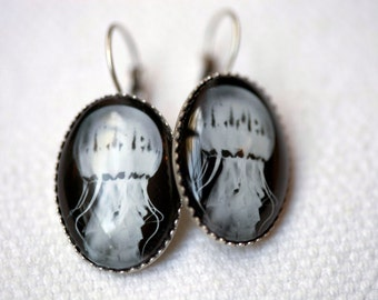 Jelly fish earrings jewelry - French ear hook earrings antique silver featuring a photo of a black and white jellyfish