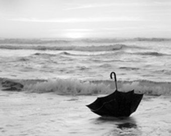 """Large Scale Ocean Black and White Photograph.  An original signed 16 x 20  photo """"My Voyage in an Umbrella Across the Sea"""""""