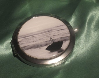 Pocket Mirror, Compact style with two mirrors inside, outside  featuring a black and white photo