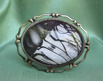 "Jellyfish Jewelry  Brooch.  With Black and White Art  Photo Under Glass - ""Jelly Fish Abstraction"""