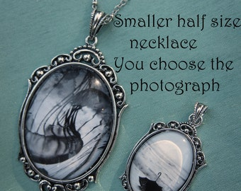 Smaller half size wearable art necklace - Antique silver toned pendant with photo under glass