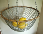 vintage metal and wood hanging basket with chain