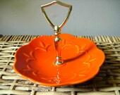 vintage california pottery orange tidbit tray