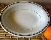 vintage restaurant ware serving bowl with green stripes
