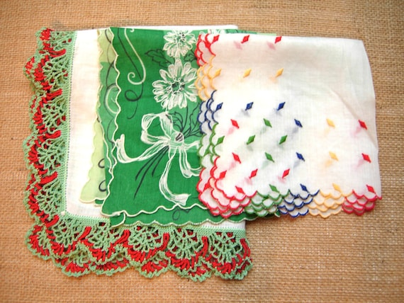 vintage handkerchiefs hankies set of three