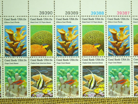 unused vintage stamps CORAL REEFS 15 cents issued 1980
