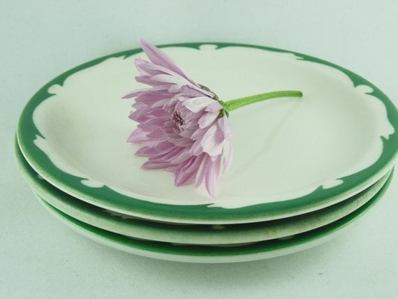 vintage restaurant ware small side plates green crest mixed lot