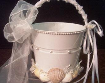 Beach Wedding Seashell Flower Girl Pail - White