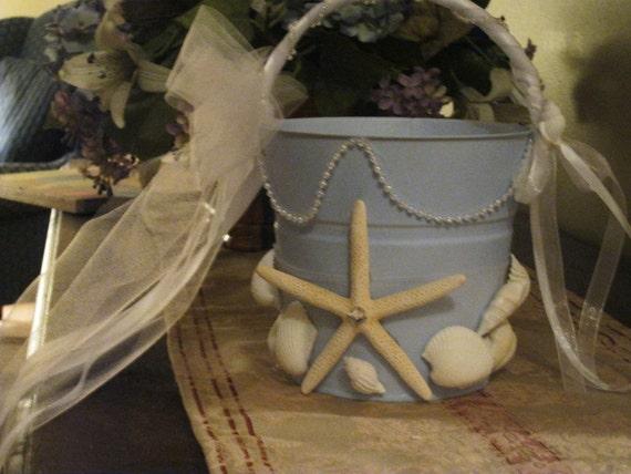 Beach Wedding Flower Girl  Basket