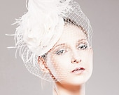 Beautiful Bridal Headpiece, Full Side Blusher,  Birdcage Veil.