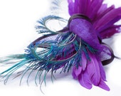 Purple-Straw-Bow-Peacock-Cocktail-Hat-Headpiece-Head-Trim-Weddings-Races-Party-Halloween - EllaGajewskaHATS
