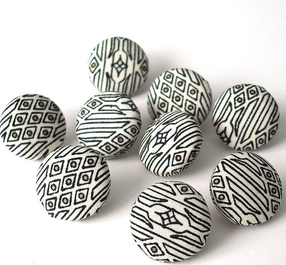 Fabric covered button push pins/ black and cream