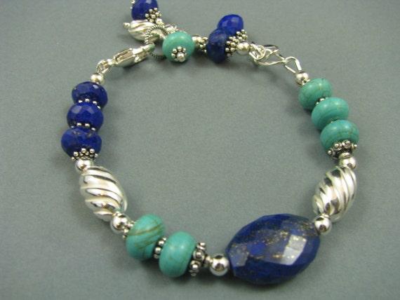 Lapis Lazuli, Turquoise GENUINE Gemstone, Sterling Silver, Bali Silver Artisan Bracelet