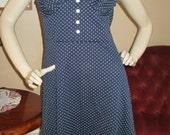 Vintage Navy Blue and white sleeveless dress