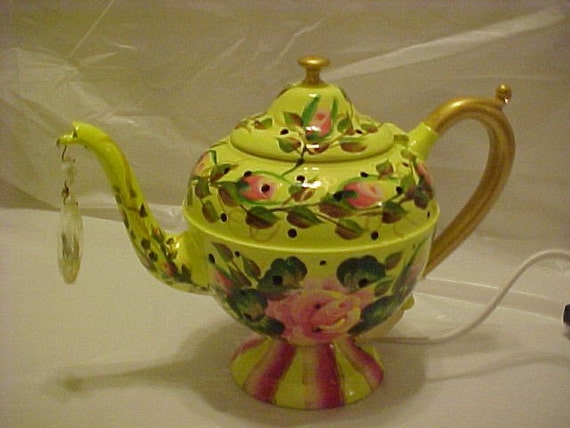 Lime Green Hand Painted Tea Pot Night Light with Floral Design