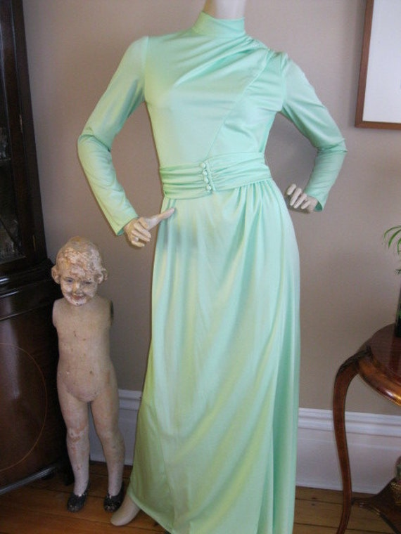 Mint Green 1970s Vintage Polyester Gown with Belt free shipping