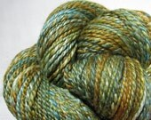 Handspun Yarn Two Ply Biue Faced Leicester and Tussah Silk Lynn Vogel Limited Edition 'Olive Blossom'
