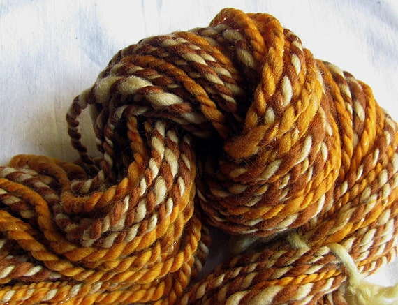 RESERVED for Metalgirl Handspun Yarn Super Bulky Two Ply Merino and Angelina 'Honey Caramel'