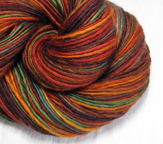 Handspun Yarn Thick and Thin Single Biue Faced Leicester 'Fall Foliage 5'