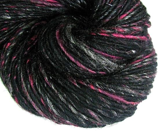 "HALF OFF SALE Handspun Art Yarn Sheeping Beauties  ""Black Rose"""