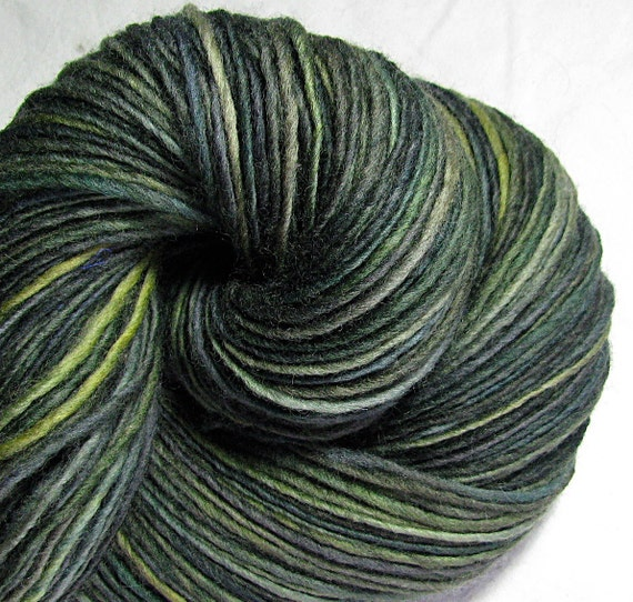 SALE Handspun Yarn Thick and Thin Single Falkland 'Forbidden Forest'