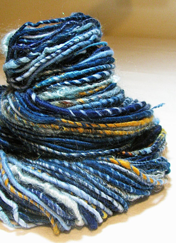 Handspun Art Yarn Corespun Sheeping Beauties 'The Blues'