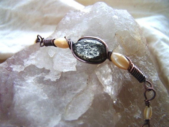 Pyrite and Mother of Pearl Oxidized Copper Wire Wrapped Bracelet