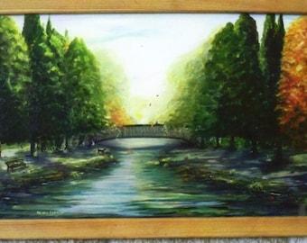 Half Off 149.00 sale  Huge  44x18 in original Oil framed FETCH  ORIG. OIL  44x18 inch huge painting