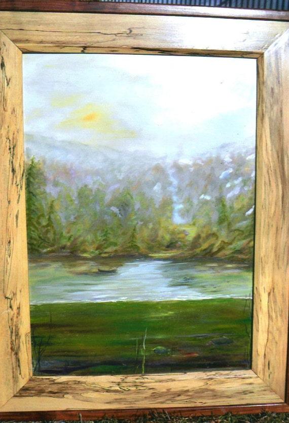 SILENCE PAST    27x37 inch oil impressionism originial art with wonderful double custom frame