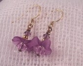 Lavender Lucite and Crystal Earrings