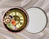 Time Piece Style Floral Pocket Mirror