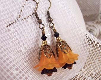 Orange and Black Vintage Look Fall Earrings
