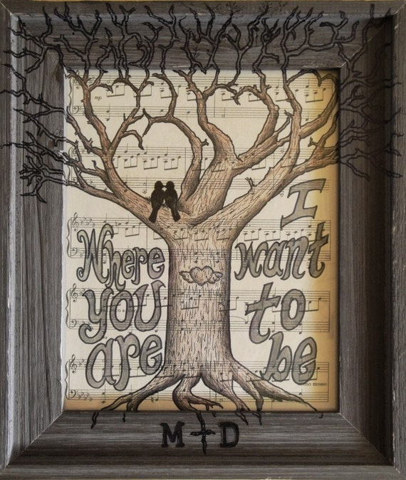 Custom Framed Winged Heart Carved Tree Art Print 11 x 13