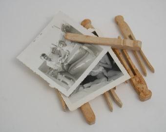 Set of Vintage Wooden Clothespins