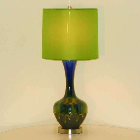 Modern Ceramic Vase Table Lamp: DANISH MID CENTURY MODERN HAEGER LAVA DRIP GLAZE POTTERY