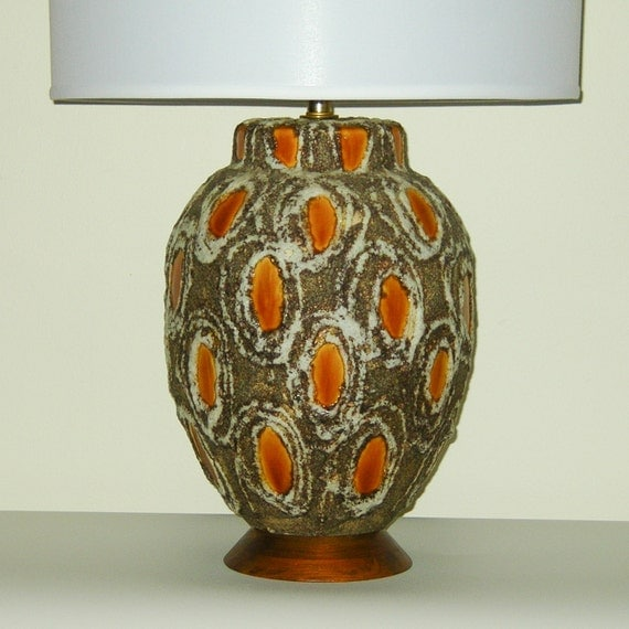 HUGE Mid-Century Brutalist Fat Lava Glaze Pottery Lamp . FREE us SHIP